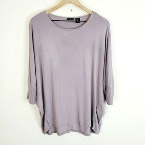 Tahari Purple Dolman Sleeve Top